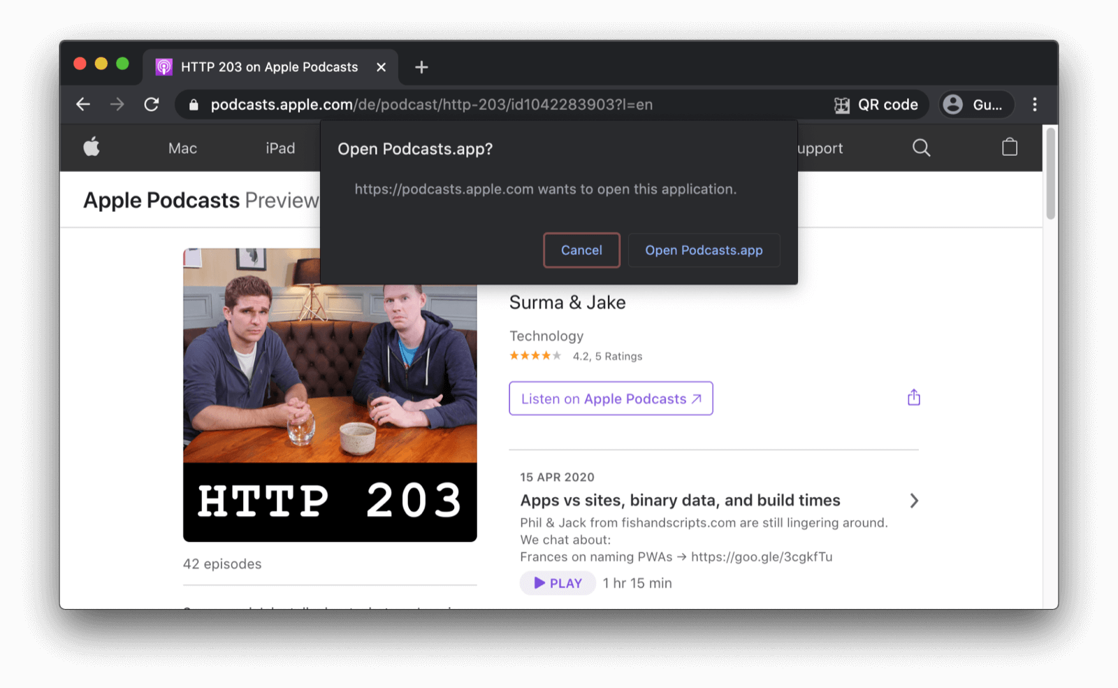 The Chrome browser showing a confirmation dialog asking the user whether they want to open the Podcasts app.