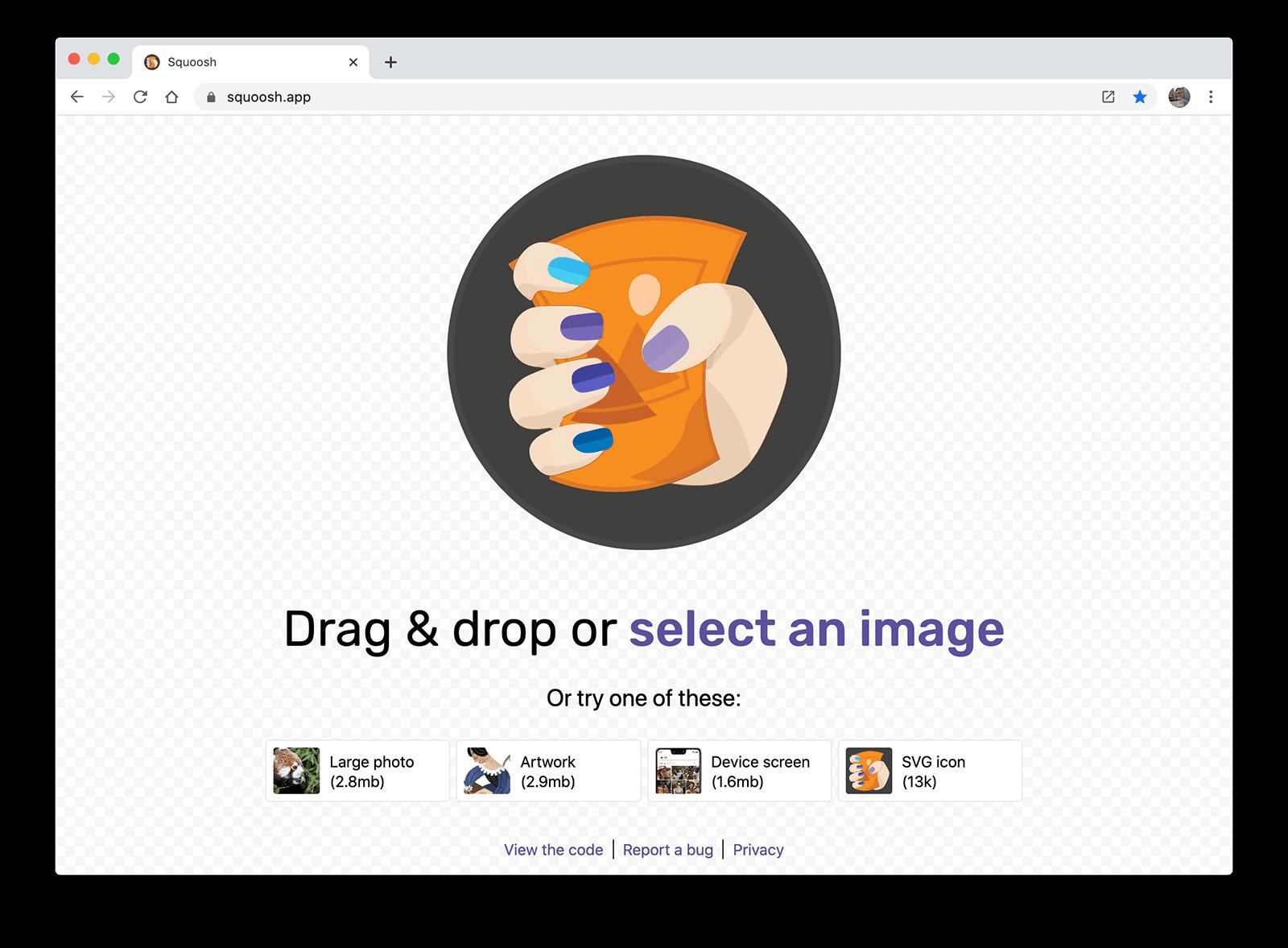 A screenshot of Squoosh, an image compression web app.