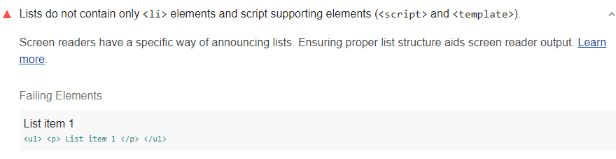 Lighthouse audit showing lists contain content elements that shouldn't be within the lists