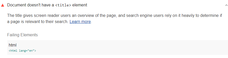 Lighthouse audit showing HTML document doesn't have a title elemement
