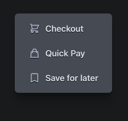 The popup in the dark theme.