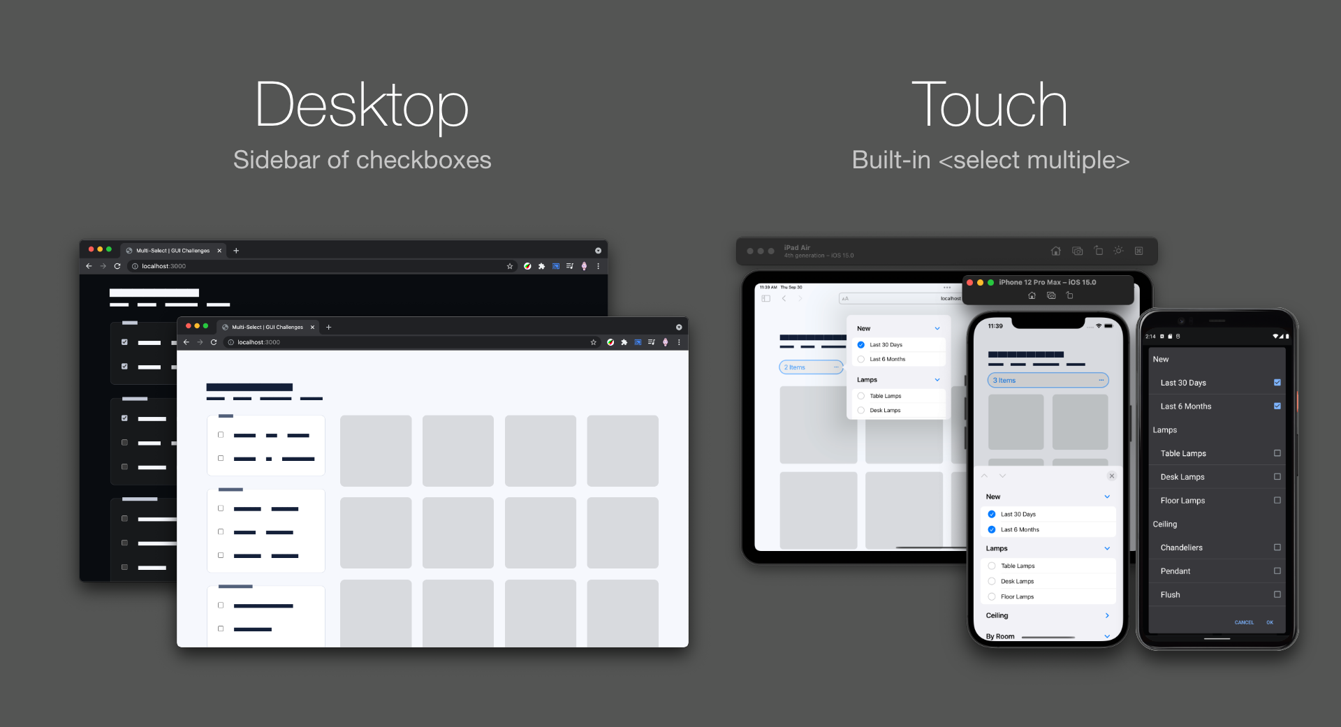 Comparison screenshot showing desktop light and dark with a sidebar of checkboxes vs mobile iOS and Android with a multi-select element.