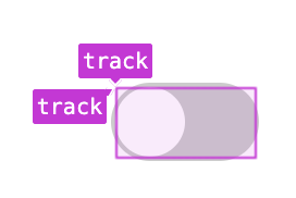 Grid DevTools overlaying the switch track, showing the named grid track areas with the name 'track'.