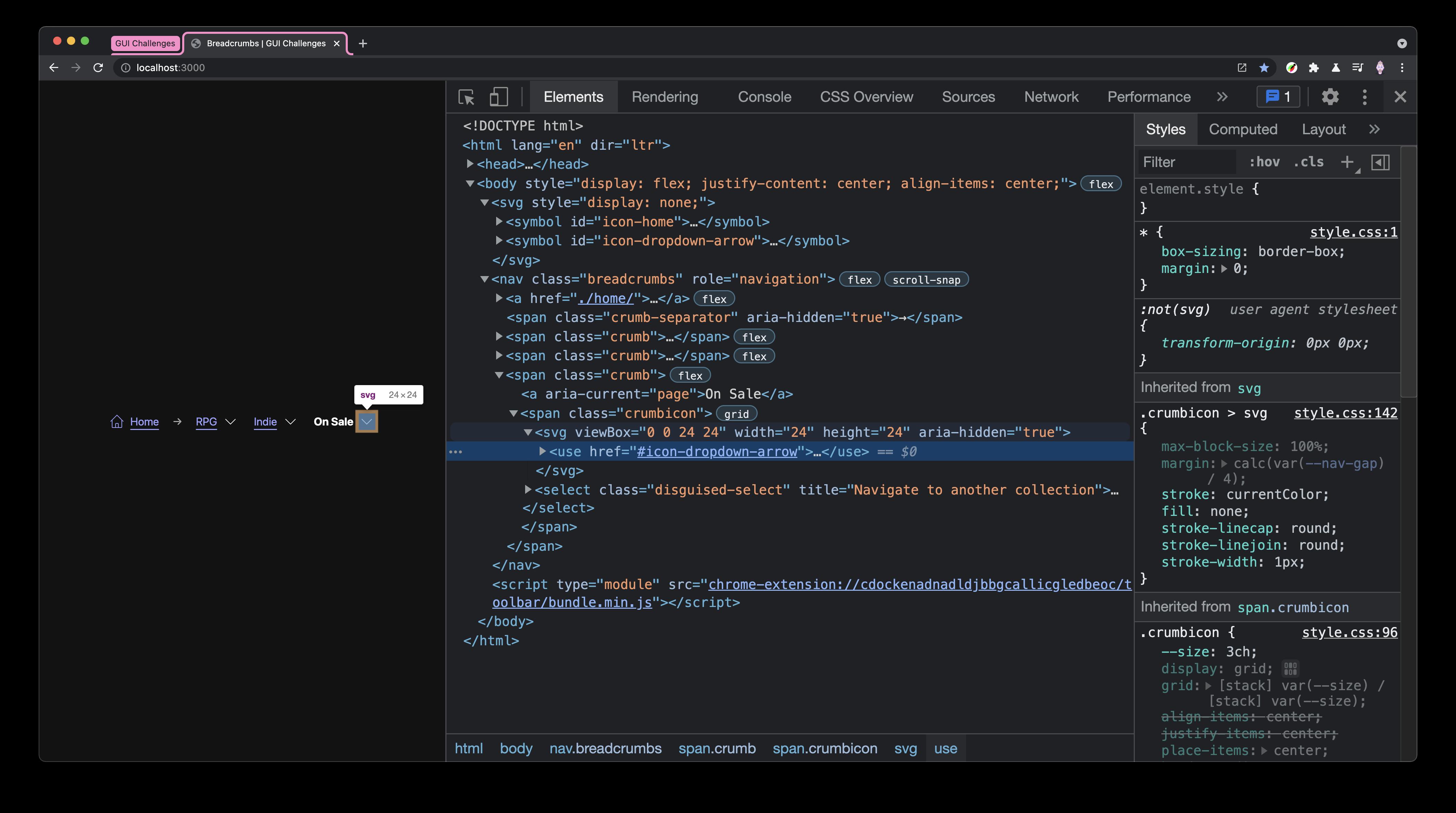 DevTools showing a rendered `<use>` SVG element.