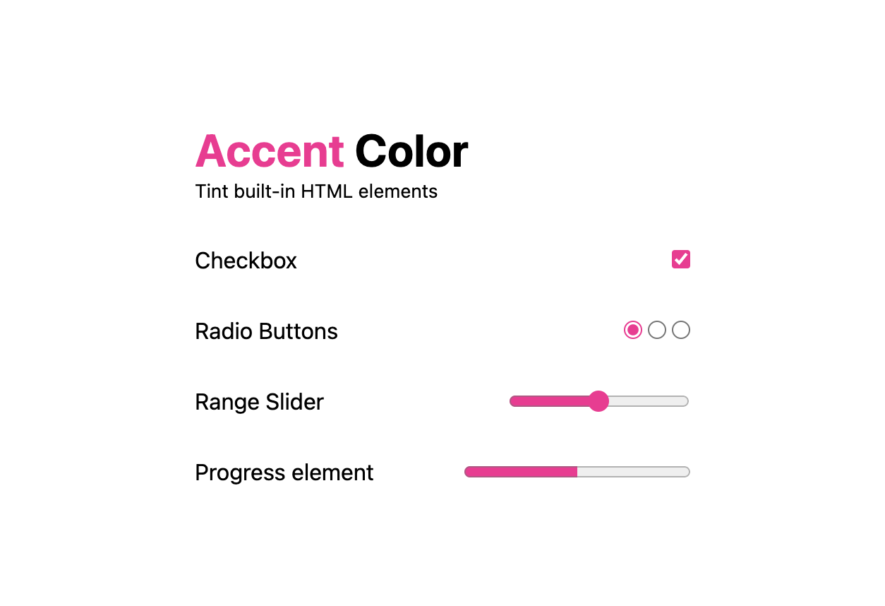 A light theme screenshot of an accent-color demo where      checkbox, radio buttons, a range slider and progress element      are all tinted hotpink.