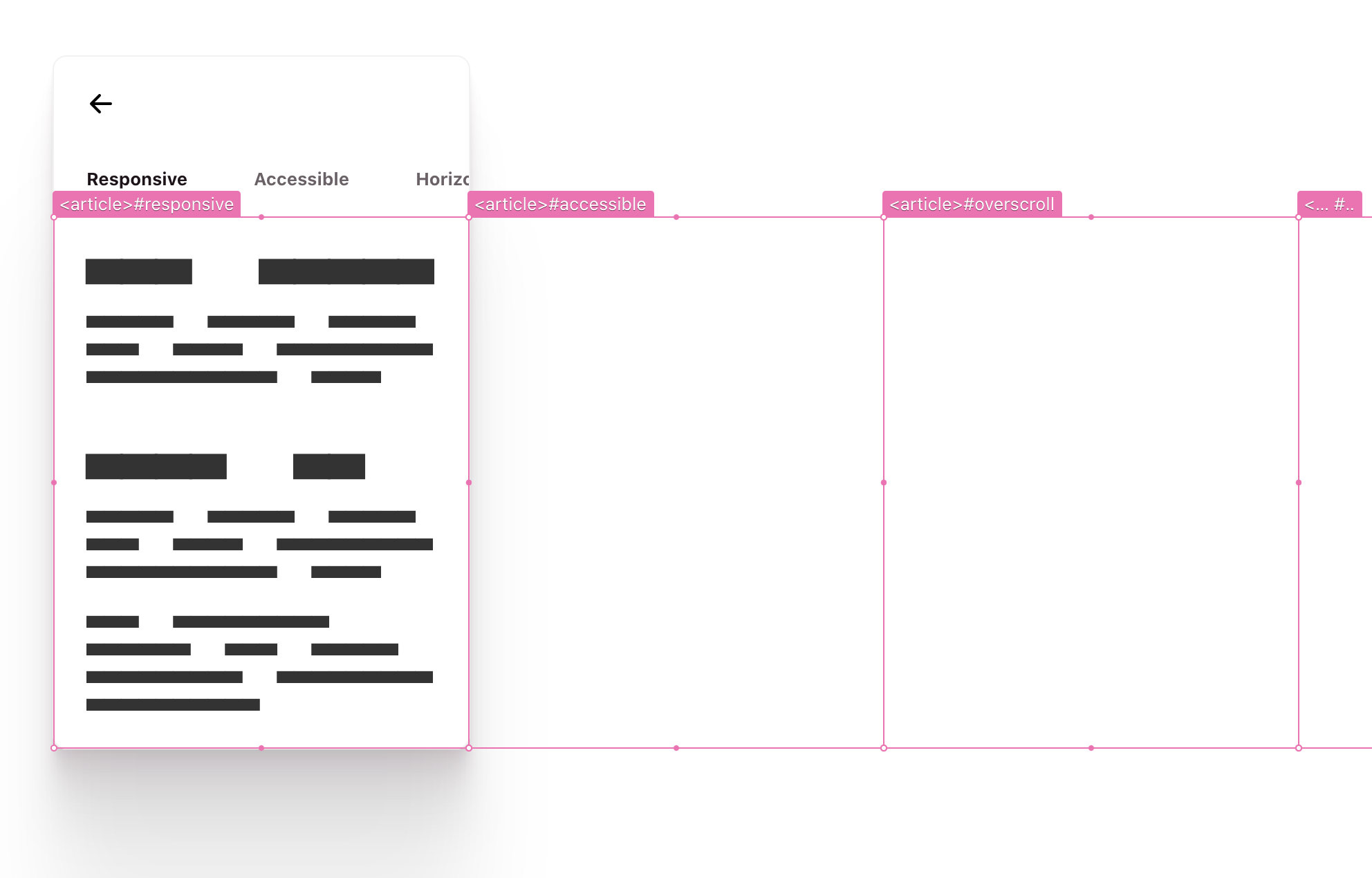 the article elements have hotpink overlays on them, outlining the space they take up in the component and where they overflow