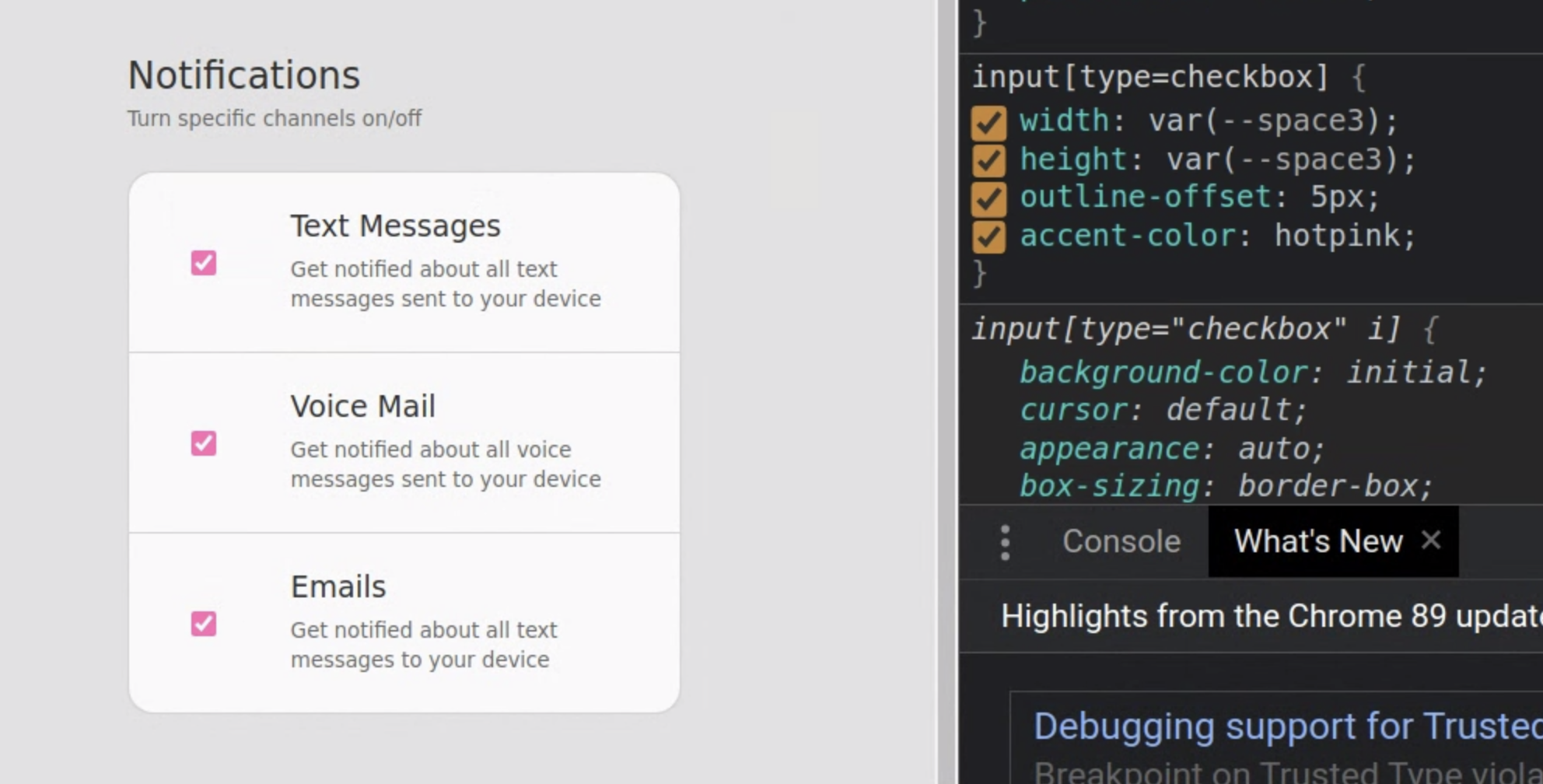 A screenshot from Chromium on Linux of pink checkboxes
