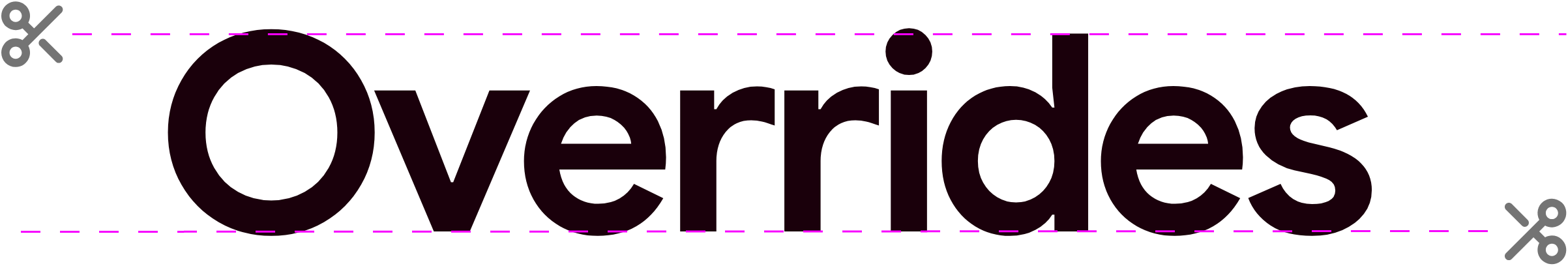 scissors above and blow the word overrides, demonstrating the areas the features can trim to