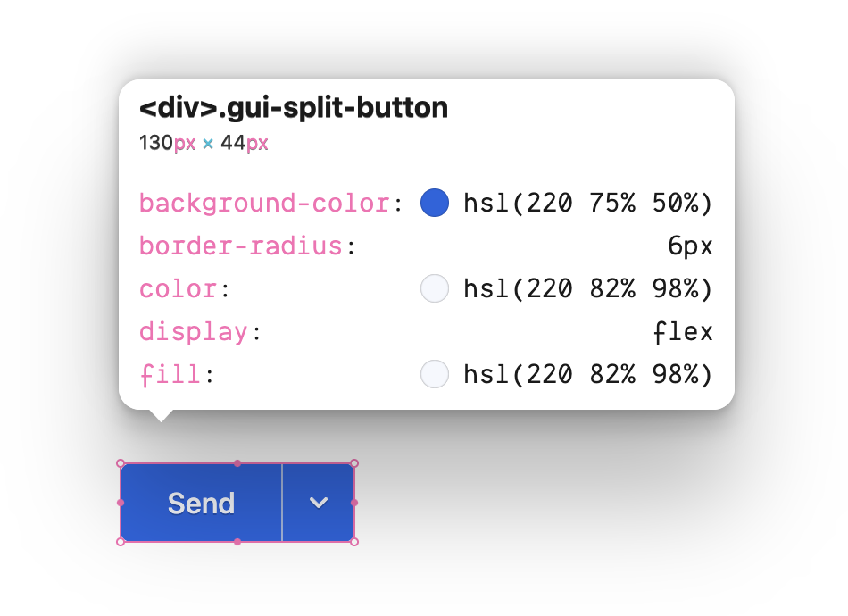 The gui-split-button class inspected and showing the CSS properties used in this class.