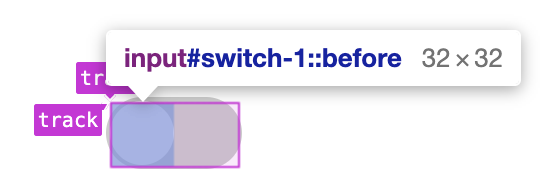 DevTools showing the pseudo-element thumb as positioned inside a CSS grid.