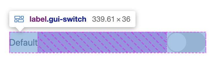 Flexbox DevTools overlaying a horizontal label and switch, showing their layout distribution of space.