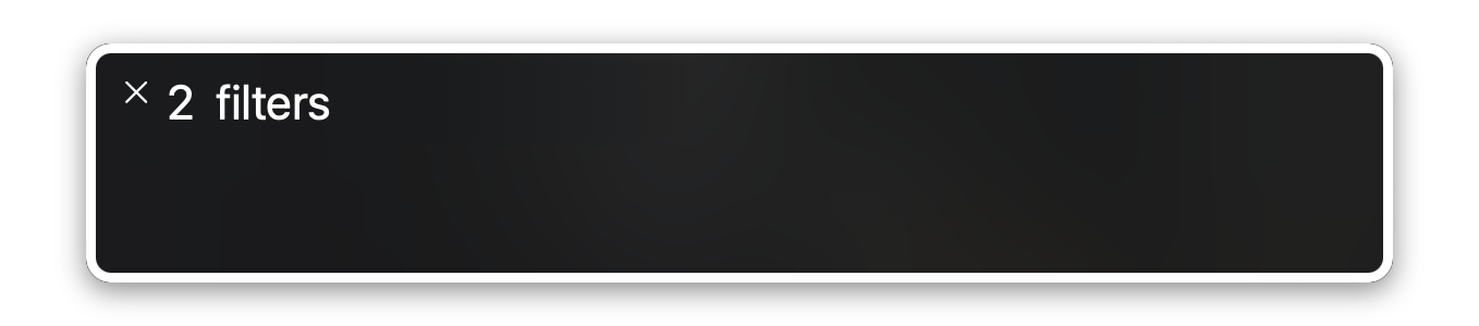 A screenshot of the MacOS screen reader announcing number of active filters.