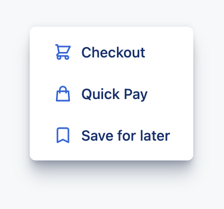 Links and icons for checkout, Quick Pay, and Save for later.