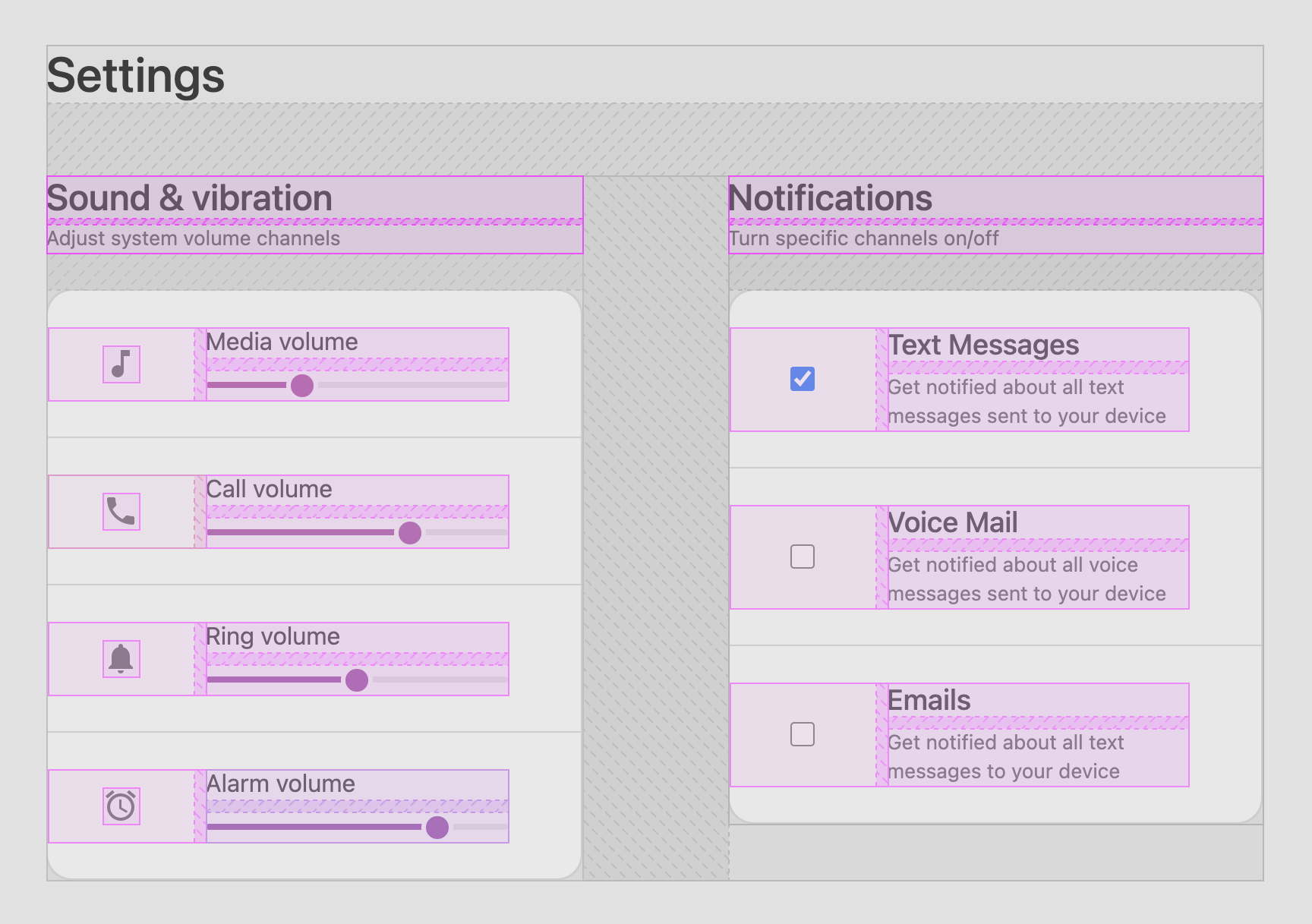 Colorful outlines and gap spacing overlays that help show all the boxes that make up the settings layout