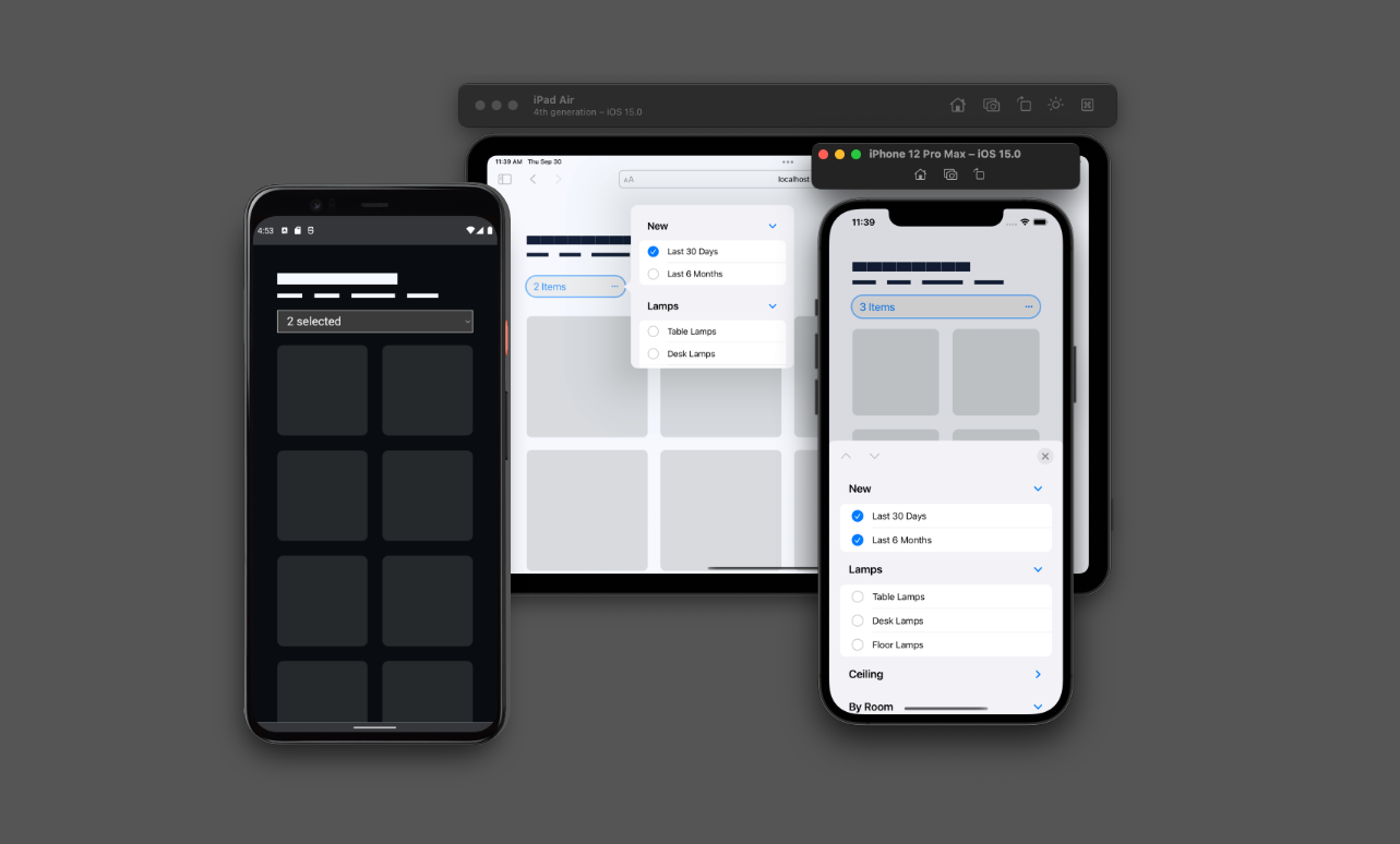 A screenshot preview of the multi-select element in Chrome on Android, iPhone and iPad. The iPad and iPhone have the multi-select toggled open, and each get a unique experience optimized for the screen size.