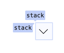 Grid DevTools shown overlaying a button where the row and column are both named stack.