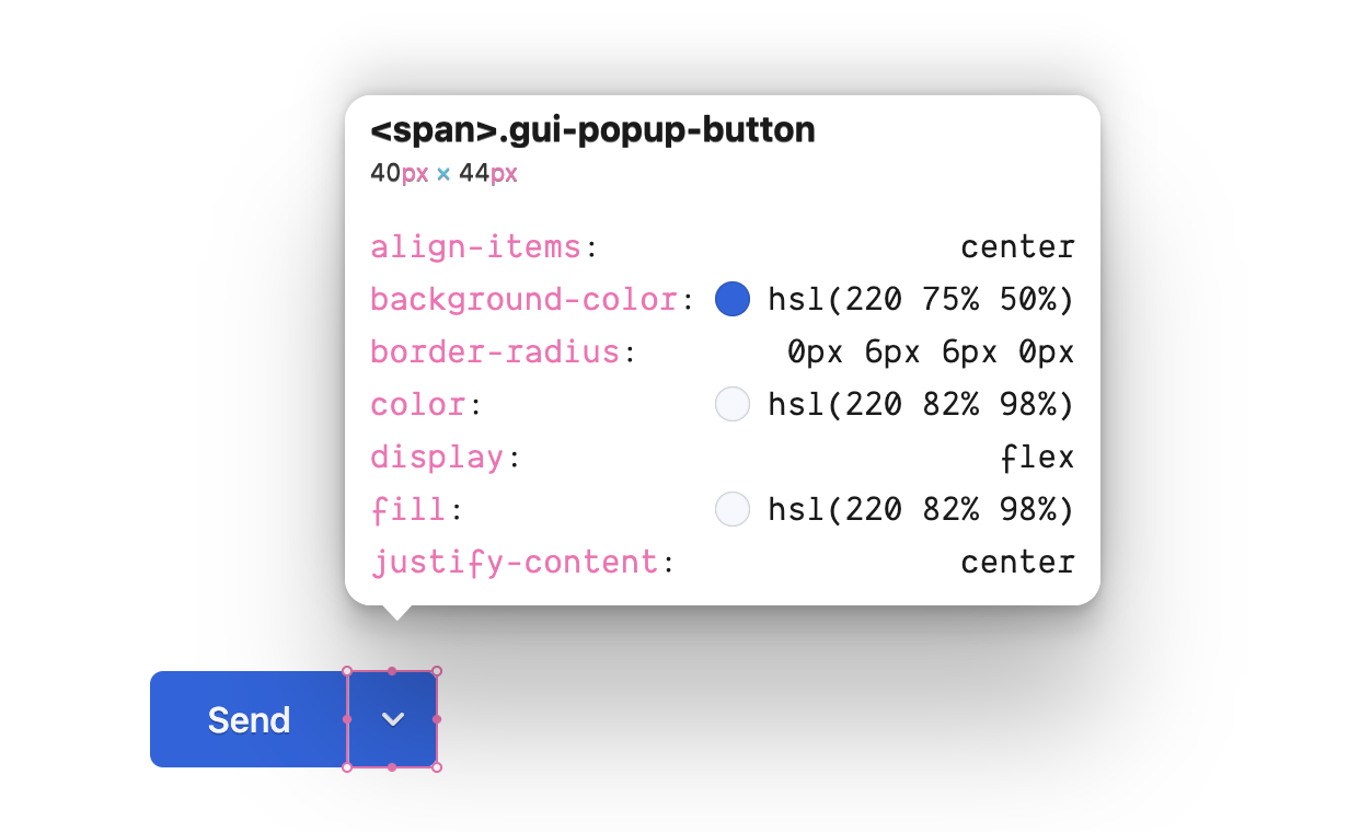 The inspector showing the CSS rules for the class gui-popup-button.