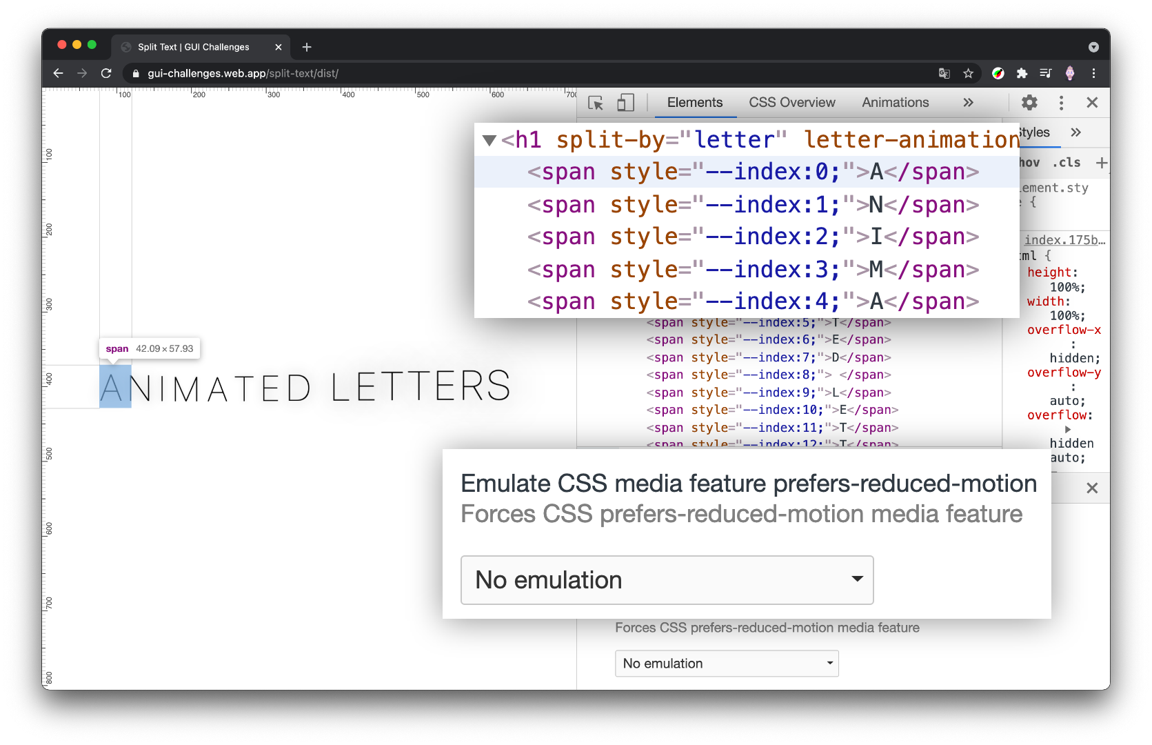 screenshot of the Chrome devtools with the Elements panel open and reduced motion set to 'reduce' and the h1 is shown unsplit