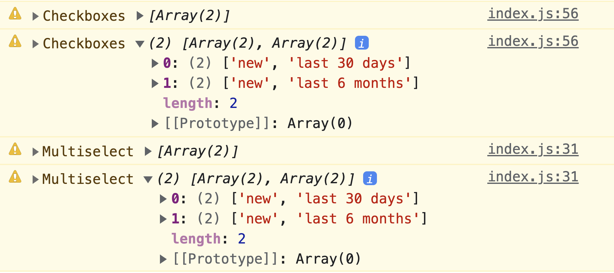 Screenshot of the DevTools JavaScript console which    shows the goal, normalized data results.