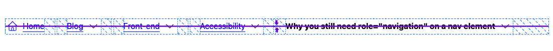 DevTools showing breadcrumb nav alignment with a its flexbox overlay feature.