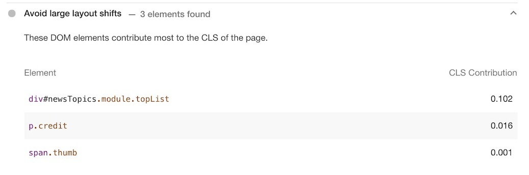Lighthouse Avoid large layout shifts audit showing DOm elements that contribute the most to the CLS on the page.