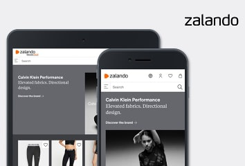 Zalando web store on laptop, phone, and tablet.