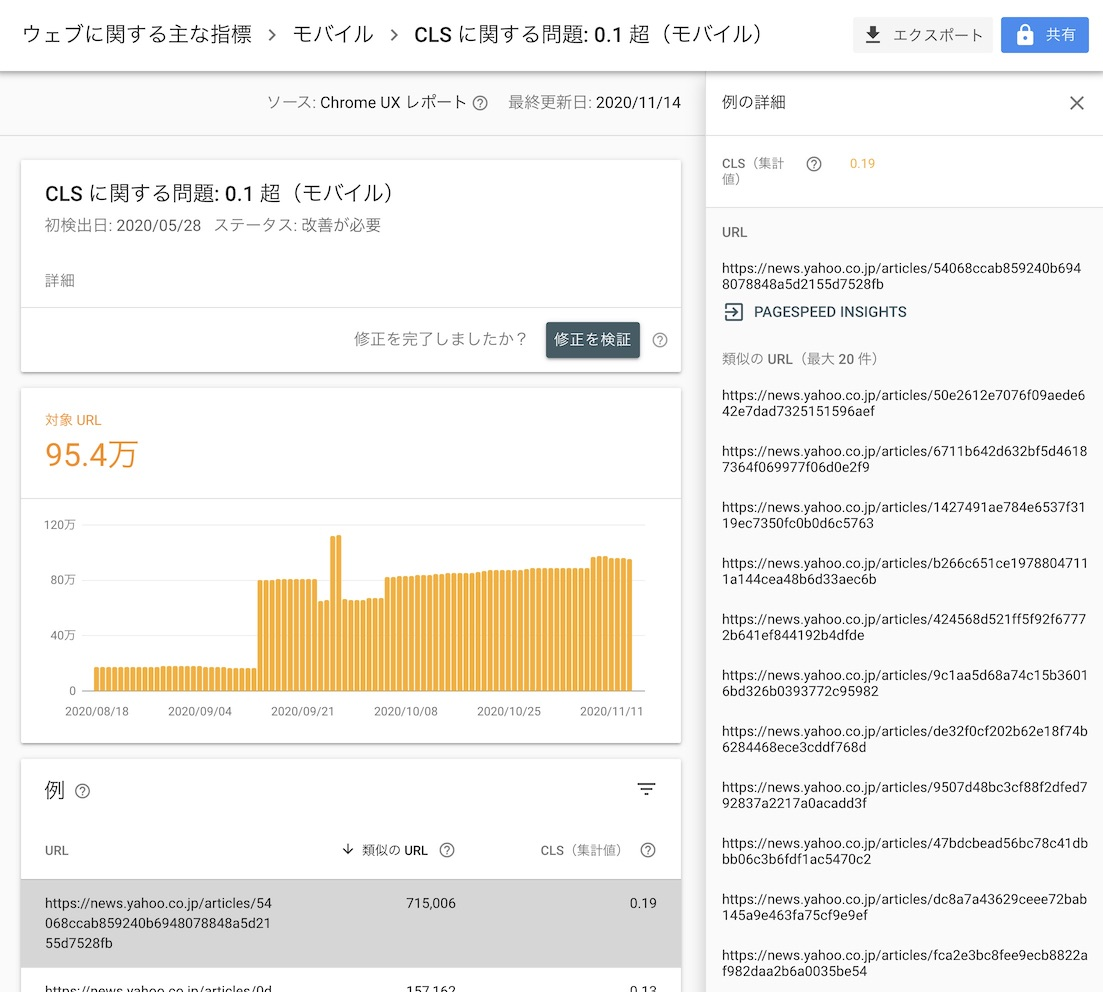 Google Search Console Core Web Vitals Report showing high CLS for article details page.