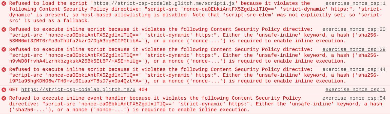 CSP violation reports in the Chrome developer console.