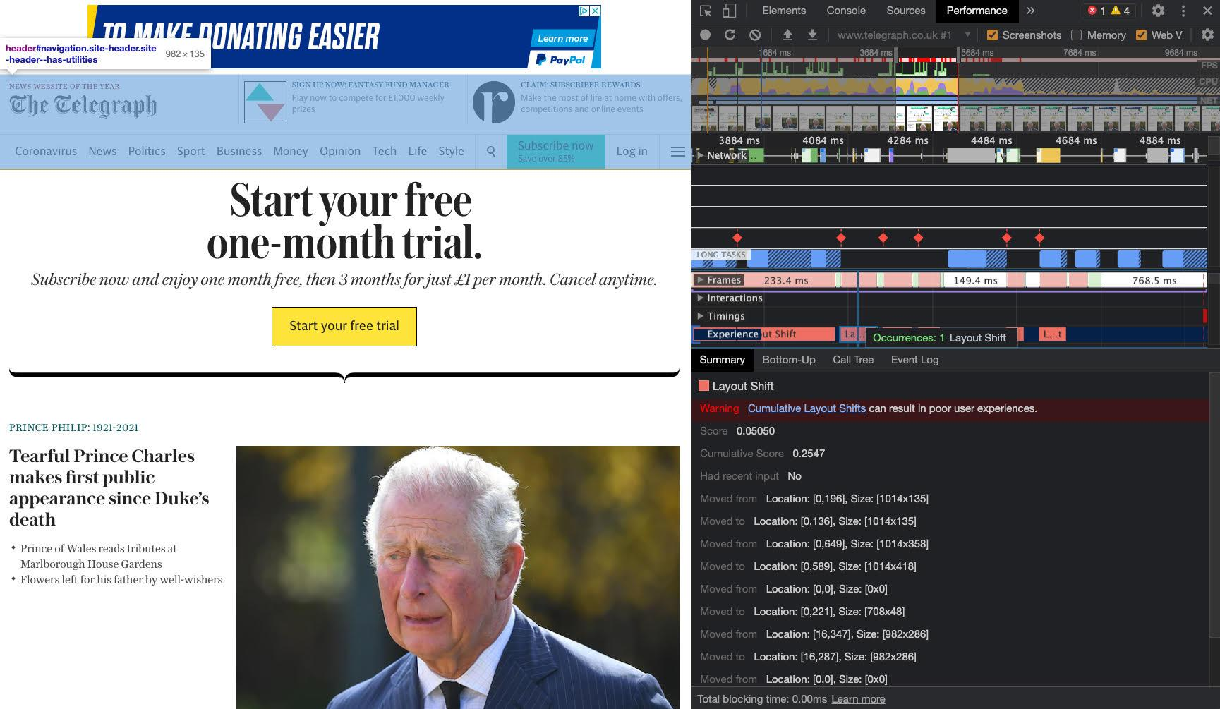 The front page of Telegraph with an ad in the header highlughted with a blue overlay.