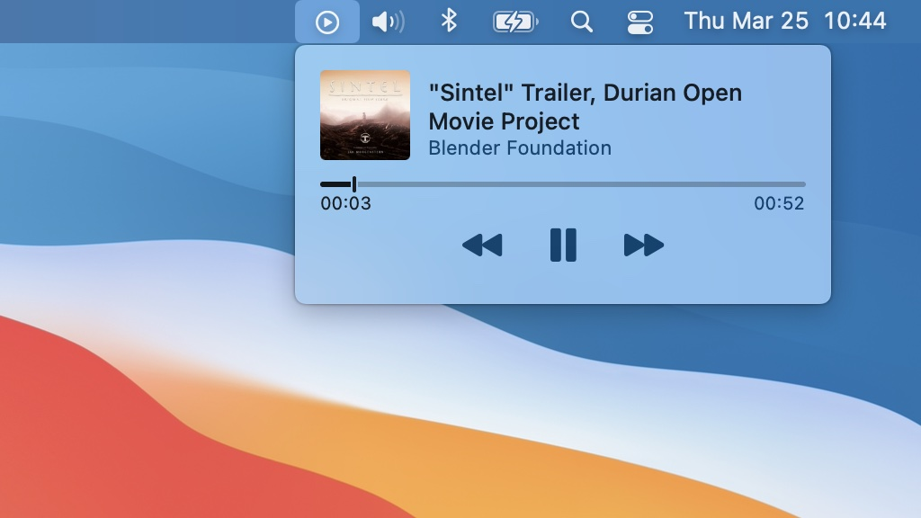 Screenshot of the Now Playing widget in macOS Big Sur